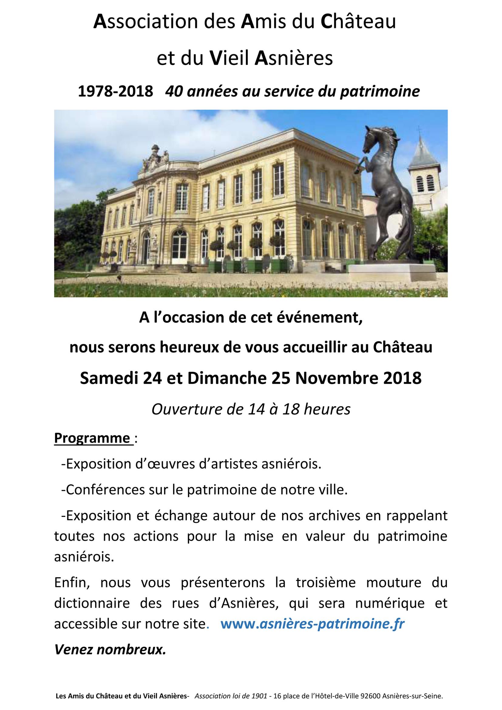 40 ans de l'Association – Les Amis du Château
